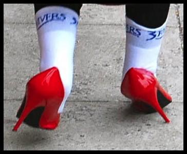 wobbling high heels