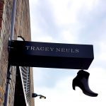 Tracey Neuls sign coal drops yard experiential shoe retail