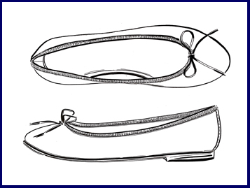 Ballet pump illustration - side view and top view