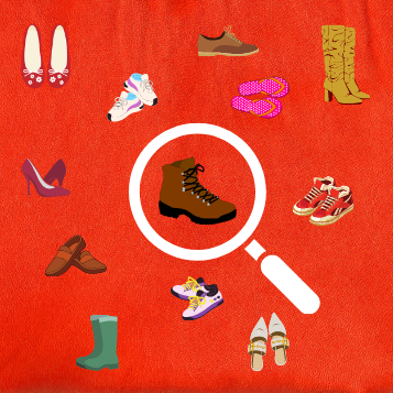 Magnifying glass with lots of types of shoes