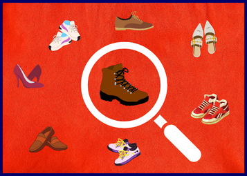 Can a shoe brand be too niche? Various types of shoes with a magnifying glass in the middle highlighting a larger hiking boot