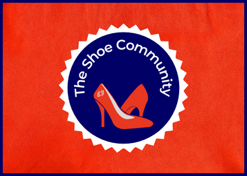 The Shoe Community badge with orange high heeled shoes on and text reading The Shoe Community